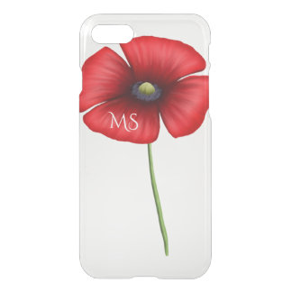 A Red Poppy Flower Monogram Clear iPhone 8/7 Case