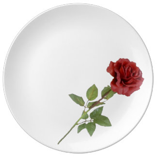A Red Rose Porcelain Plate