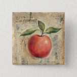A Red Shiny Apple 15 Cm Square Badge