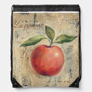 A Red Shiny Apple Drawstring Bag
