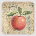A Red Shiny Apple Square Sticker