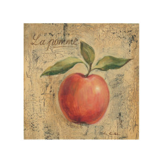 A Red Shiny Apple Wood Wall Art