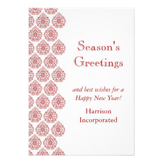 A Red Vintage Damask Holiday Card (corp)