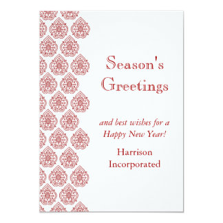 "A Red Vintage Damask Holiday Card (corp) 5"" X 7"" Invitation Card"