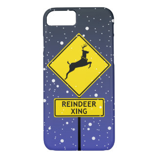 A Reindeer Crossing Sign at the North Pole iPhone 7 Case