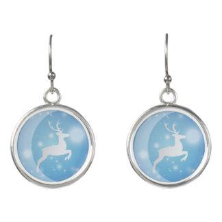 A Reindeer In blue Christmas Balls Drop Earrings