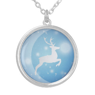 A Reindeer In blue Christmas Balls Necklace