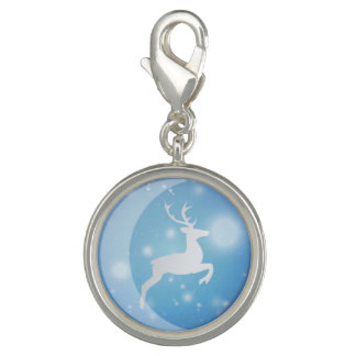 A Reindeer In blue Christmas Balls Round Charm