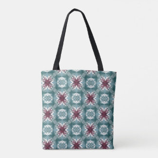 A repeating, fractal pattern in red and turquoise tote bag