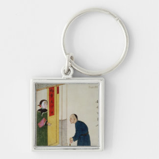 A Respectable Man Begging for Coins Silver-Colored Square Key Ring
