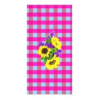 A Retro Pink Teal Checkered Sun Flower Pattern. Custom Photo Card
