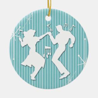 A Retro Rockin' Theme Christmas Ornament