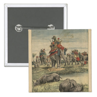 A rhinoceros hunt in honour of King George V 15 Cm Square Badge