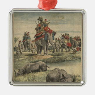 A rhinoceros hunt in honour of King George V Silver-Colored Square Decoration