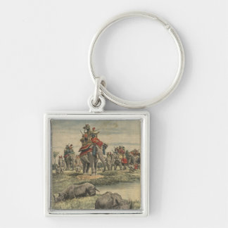 A rhinoceros hunt in honour of King George V Silver-Colored Square Key Ring