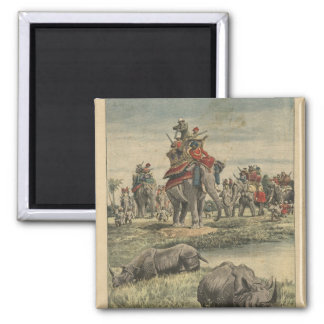 A rhinoceros hunt in honour of King George V Square Magnet