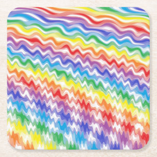A Rhythmic Rainbow Square Paper Coaster