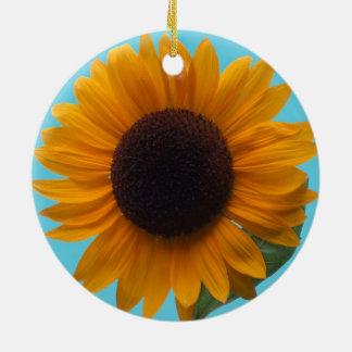 A Rich Autumn Beauty Sunflower in the Round Round Ceramic Decoration