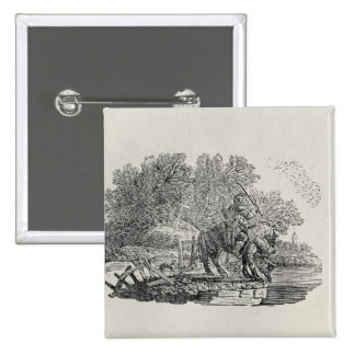 A Rider Distracted by a Flock of Birds 15 Cm Square Badge