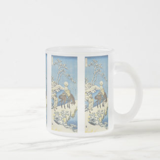 A Rider in the Snow, Hokusai, 1833, Mugs, Steins Frosted Glass Mug