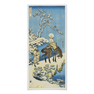 A Rider in the Snow, Hokusai, 1833 Poster