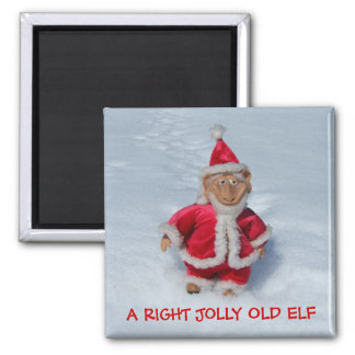 A RIGHT JOLLY OLD ELF. SQUARE MAGNET