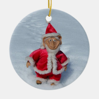 A Right Jolly Old Elf Round Ceramic Decoration