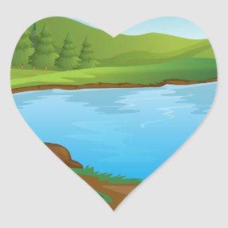 A river heart stickers