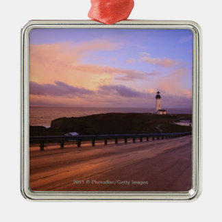 A Road & A Lighthouse Along The Coast At Sunset Silver-Colored Square Decoration