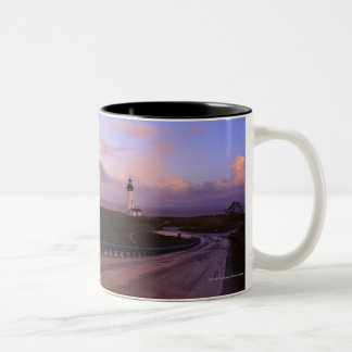 A Road & A Lighthouse Along The Coast At Sunset Two-Tone Coffee Mug