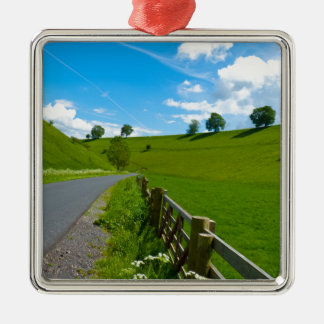 A road leading into a Yorkshire green valley. Silver-Colored Square Decoration