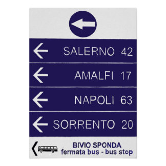 A road sign along the Amalfi Coast