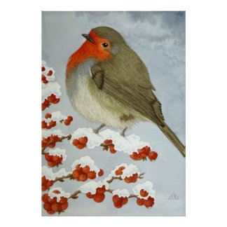 A Robin and berries in the snow Poster
