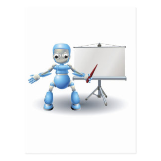 A robot mascot character presenting on roller scre postcard