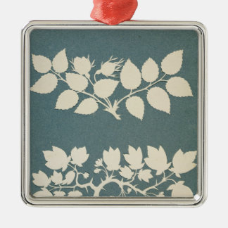 A Rose Branch and Jasmin Branch Silver-Colored Square Decoration