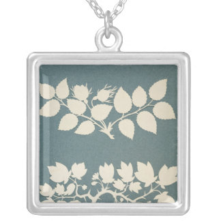 A Rose Branch and Jasmin Branch Silver Plated Necklace