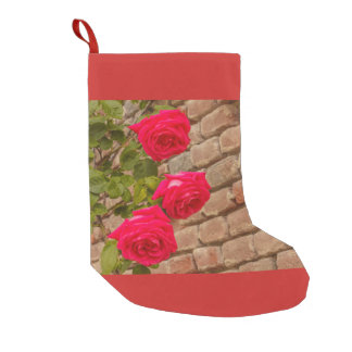 a roses climb on a brick wall Christmas Stocking