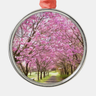 a row of cherry blossom trees Silver-Colored round decoration