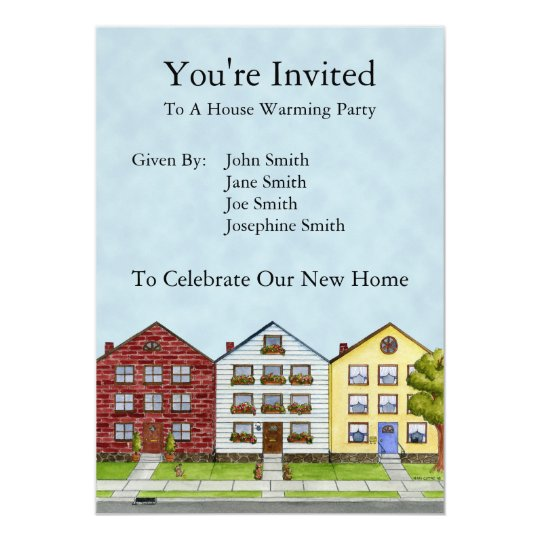 A Row Of Houses Invitation