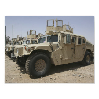 A row of humvees from Task Force Military Polic Art Photo