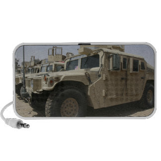 A row of humvees from Task Force Military Polic Portable Speaker