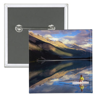 A rower on Banff Lake in the Canada MR) 15 Cm Square Badge