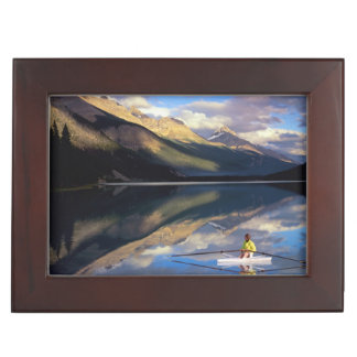 A rower on Banff Lake in the Canada MR) Keepsake Box