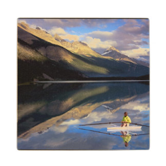A rower on Banff Lake in the Canada MR) Wood Coaster
