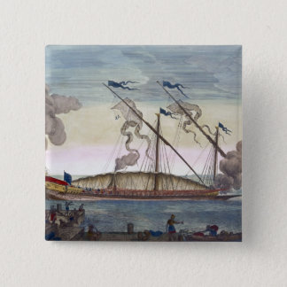 A Royal Galley (Spanish or Portuguese) rowed by sl 15 Cm Square Badge