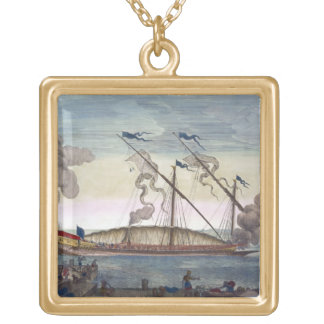 A Royal Galley (Spanish or Portuguese) rowed by sl Gold Plated Necklace