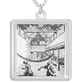 A Royal Game of Tennis in the Jeu de Paume Silver Plated Necklace
