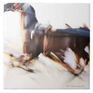 A running horse at a high speed is competing in large square tile