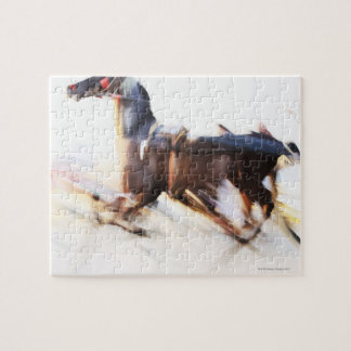 A running horse at a high speed is competing in jigsaw puzzle