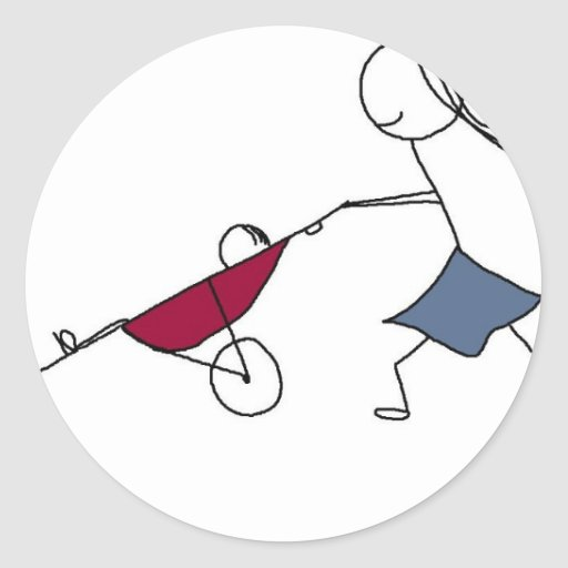 A running mommy is a happy mommy round sticker